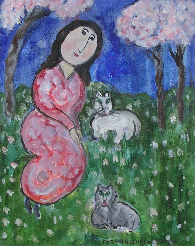 Lady with Two Cats (SOLD)