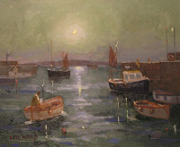 Eric Ward - Moon Light at St Ives Harbour - Sold