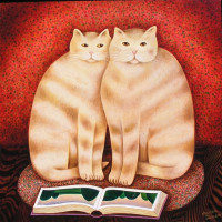 Martin Leman - Cats with book - SOLD