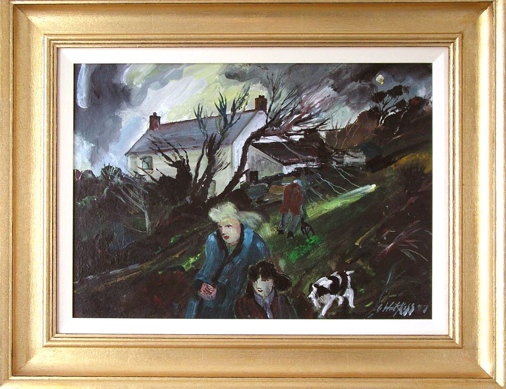 Figures and Dog, West Penwith, Cornwall (signed and Dated 1997) (SOLD)