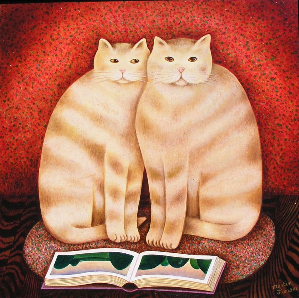 Martin Leman - Cats with book - POA